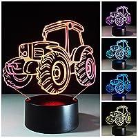 多色ナイトライト、3Dナイトライト7色の変更 タッチコントロールLEDナイトランプ 子供と友達のために (トラクター)