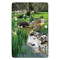 Bathroom Bath Rug Kitchen Floor Mat Carpet,Country Decor,Garden and Pond in Asian Flowing Stream Wild Flowers Bushes Stones Landscape,Flannel Microfiber Non-slip Soft Absorbent