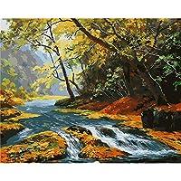 ナンバーペイントによるzddyxペイント画像高山水流手作りペイント高品質のキャンバスデジタルサプライズギフト偉大な成果による美しい絵画壁アート40 x 50 cm(16 x 20インチ)フレーム付き