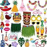 BBTOハワイアンフラミンゴスタイル写真ブース小道具、36ピース、DIYフォトブースの結婚式、誕生日パーティーやビーチ夏プールパーティーDecorations Supplies