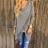 AU Womens Irregular Tassel Draped Cardigan Coat Jackets Jumpers Poncho Loose Top Grey Fringe Tassel Hem Sweater. L (AU Size 12)