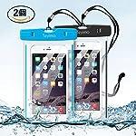 Teyimo (2本セット)防水ケース スマホ用防水ポーチ 夜間発光お風呂、アウトドア、潜水、温泉などでご安心できます 5.5インチまでのiPhoneとAndroidスマホに対応可能 ネックストラップ付き