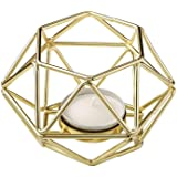 Bundle of 2 Fashioncraft 4 Gold Geometric Hexagon Tea Light Candle Holders