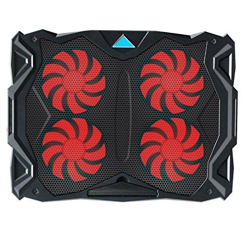 Tenswall冷却パッド ノートパソコン 冷却台 ノートPCクーラー クール超静音 ポータブル 超薄型 高度調節 風量調節 USB接続 LED搭載 17インチ型まで対応 USBポート2口 4個ファン