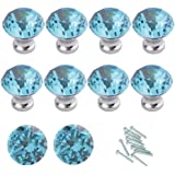 HOSL 10PCS Lake Blue Diamond Shape Crystal Glass Cabinet Knob Cupboard Drawer Pull Handle/Great for Cupboard, Kitchen and Bat