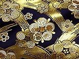 京西陣・金襴 生地 金地文に梅(紺) (金らん 金襴布 和布 和生地 和柄生地 和柄 和風)