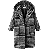 JSYAU Women's Long Jacket Plus Size Tweed Plaid Overcoat Thick Hooded Pea Coat
