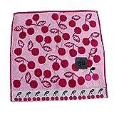 (アナスイ) ANNA SUI タオルハンカチ ハンカチ さくらんぼ チェリー ハンカチーフ 桃 ピンク 黒 ブラック 白 ホワイト (ピンク)