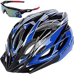IZUMIYA 自転車 ヘルメット ロードバイク クロスバイク サイクリング 大人 超軽量 高剛性 大人用 サングラス セット (ブラック×ブルー)