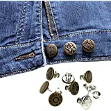 COMVIP 5pcs Free Sewn Jeans Button Perfect Fit Instant Buttons to Denim Pants Removable Adjustable Metal Buckle