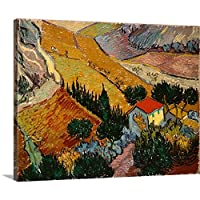 """Vincent Van Goghプレミアムシックラップキャンバス壁アート印刷題名Landscape with House and Ploughman、1889 30"""" x 24"""" BAL385504_24_30x24_none"""