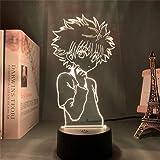 Hunter X Hunter Killua Zoldyck 3D Illusion Led Lamp 3D Night Light 16 Colour Changing LED Mood Lamp Desk Table Light Lamp Chi