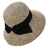 麦わら 帽子 レディース 夏 ラフィア ストロー ハット 婦人帽子 つば広 uvカット 折りたたみ かわいい 大きいサイズ 56cm 57cm 58cm 自転車 コーヒー