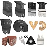 HOTBEST 108 Pcs Wood/Metal Oscillating Multi Tool Saw Blades Accessories Kit Quick Release MultiTool Kits Fits for Fein, Blac