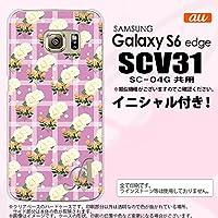 SCV31 スマホケース Galaxy S6 edge カバー ギャラクシー S6 エッジ イニシャル チェック・バラ ピンク nk-scv31-255ini S