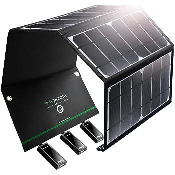 RAVPower ソーラーチャージャー 【3ポート/24W】 iPhone、Android 各機種対応 ソーラーパネル アウトドア/キャンプ/地震/災害時 RP-PC005