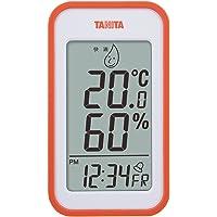 タニタ 温湿度計 温度 湿度 デジタル 壁掛け 時計付き 卓上 マグネット オレンジ TT-559 OR