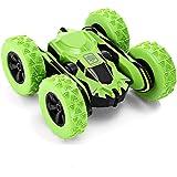 リモコンカー 電動ラジコンカー スタントカー 360度回転 ジャンプ 2.4GHz無線 両面走行特技を持つ USB充電式 高速 四輪駆動 耐衝撃 車おもちゃ 操作簡単 子供 小学生 贈り物 (グリーン)
