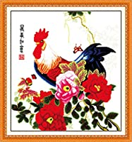 LovetheFamily クロスステッチキット DIY 手作り刺繍キット 正確な図柄印刷クロスステッチ 家庭刺繍装飾品 11CT ( インチ当たり11個の小さな格子)中程度の格子 刺しゅうキット フレームがない - 79×85 cm 大きな雄鶏と美しい牡丹