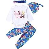 4 PCS Infant Baby Boy Girl Pants Set Princess Has Arrived Letter Print Romper Arrow Heart Pants Hats Headband Clothes