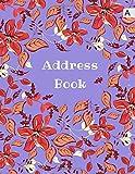 Address Book: 8.5 x 11 Big Contact Notebook Organizer | A-Z Alphabetical Sections | Large Print | Floral Leaf Frame Design Blue-Violet