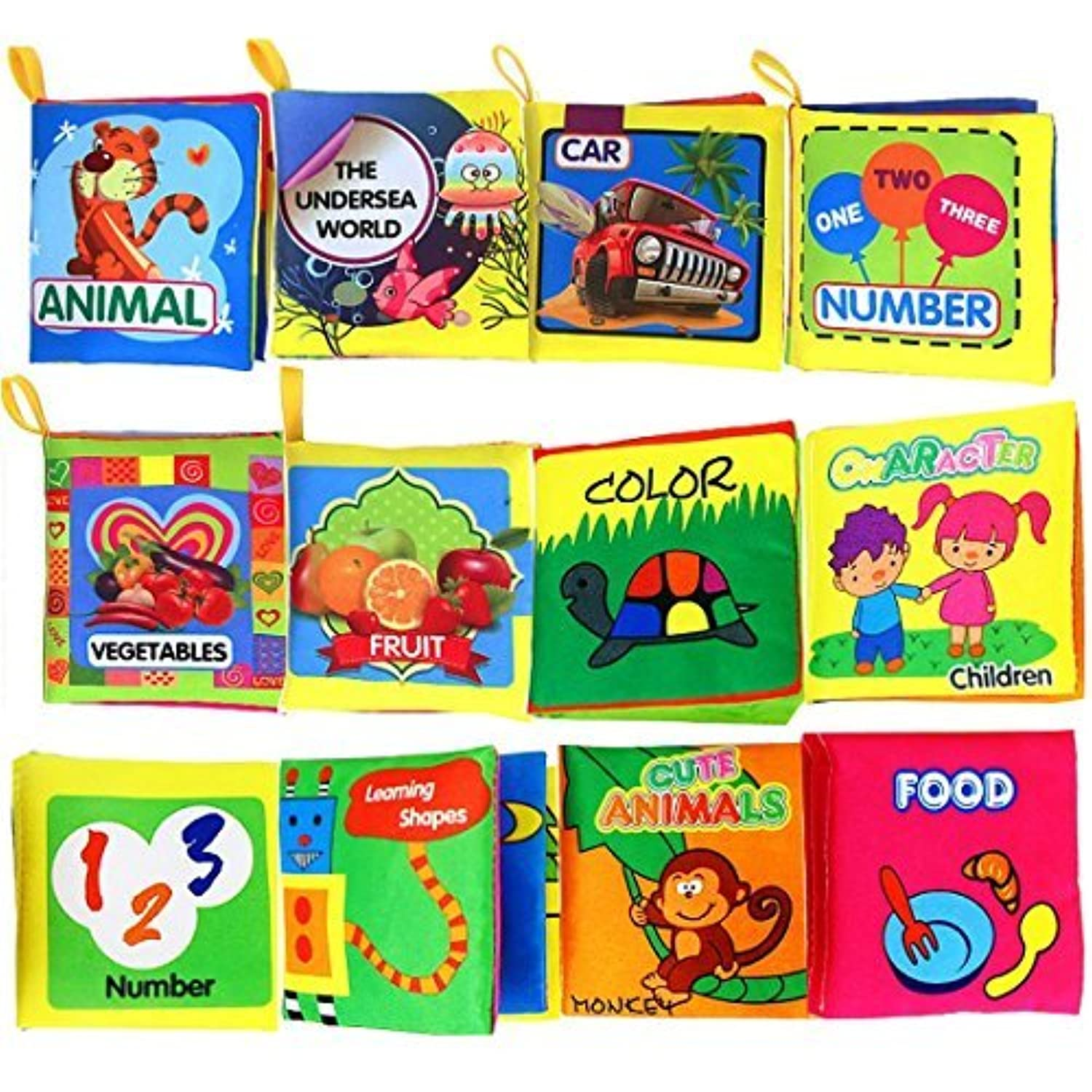 Coolplay Baby's Soft Cloth Book Set- Squeak, Rattle, Crinkle (Pack of 12)