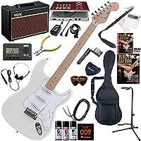 Photogenic エレキギター 初心者 入門 ストラトタイプ ギターの練習が楽しくなるCDトレーナー(エフェクターも内蔵)と人気のギターアンプVOX Pathfinder10が入った強力21点セット ST-180M/WH(ホワイト)
