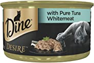 DINE Desire Pure Tuna Whitemeat Wet Cat Food 85g Can, 24 Pack