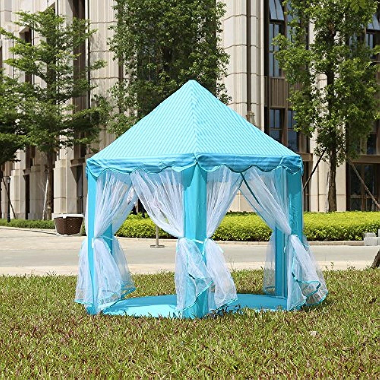 ポータブルPrincess Castle Play TentアクティビティFairy家インドアアウトドアToy Kids Cubby再生Hut水ブルー