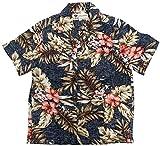 (マルカワジーンズパワージーンズバリュー) Marukawa JEANS POWER JEANS VALUE アロハシャツ キッズ 半袖 シャツ ハイビスカス 5color 150 ダークネイビー