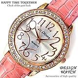 大人可愛いレディース腕時計 ラウンドフェイス クロコ型押し パステルピンク 桃色 ベルトウォッチ 白 [tvs304-lady]