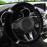 KAFEEK Microfiber Plush Steering Wheel Cover for Winter Warm, Universal 15 inch,Black