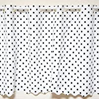 抗菌 防水カフェカーテン Mサイズ 幅120×丈60cm ドット柄ホワイト