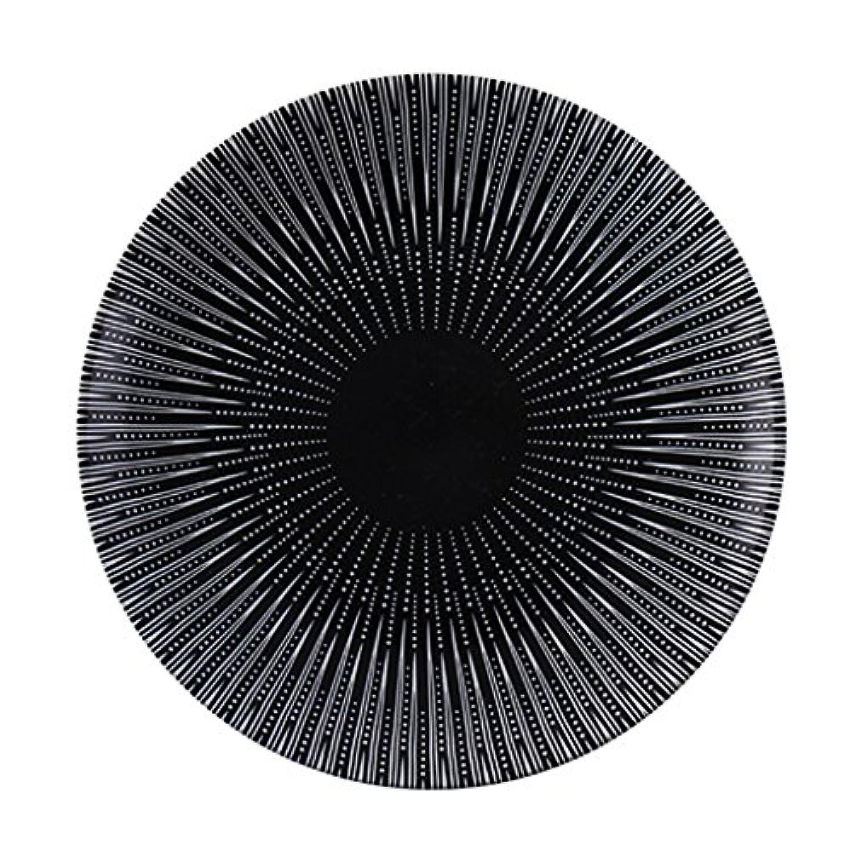 プレートセラミック西洋料理ステーキプレート、家庭用黒フルーツディッシュプレート、ラウンドデザートプレートディッシュプレート (Color : Black, Size : 20.5*20.5*2.5cm)