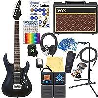 エレキギター 初心者セット AriaProII MAC-STD MBK VOXアンプ付 18点セット 【ZOOM G1on マルチエフェクター付】