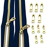 CYS #5 Zippers for Sewing,Metallic Nylon Coil Navy Zipper by The Yard,Upholstery with 10pcs Gold Sliders for DIY Sewing Tailo