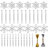 VGoodall Christmas Snowflake Decorations,36pcs Icicles Ornaments Set Clear Snowflake Acrylic Christmas Ornaments for Santa Ou