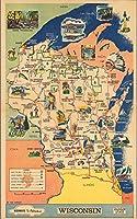 Historicマップ|ウィスコンシン州。Badger状態。国道to Adventure 1964| Historicアンティークヴィンテージマップ再印刷 24in x 15in 553192_2415