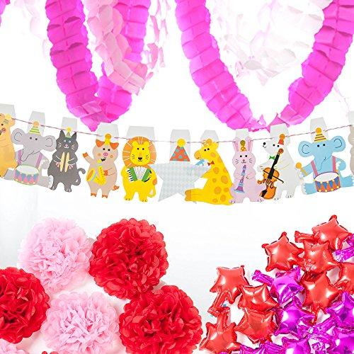 Airself パーティ飾り オールシーズン 飾り付け 装飾セット バルーン かわいい動物ガーランド ペーパーフラワー ...