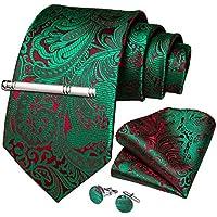 DiBanGu Paisley Tie and Pocket Square Men's Woven Necktie Silk Handkerchief and Clip Sets