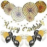 Mainiusi 誕生日 飾り付け 風船 ゴールド バースデー パーティー デコレーション セット 紙吹雪入れバルーン HAPPY BIRTHDAY ガーランド 特大ペーパーファン 誕生会 祝い 装飾 華やか おしゃれ