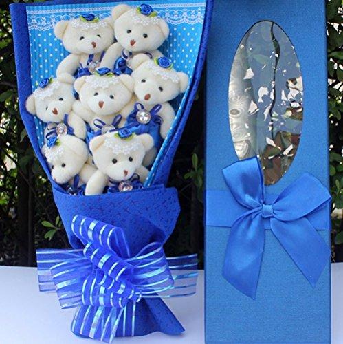 しあわせ倉庫 可愛い お祝い ベア ブーケ くま束 熊束 ぬいぐるみ 結婚式 出産祝い 誕生日 記念日 プレゼント ギフト (ブルー)