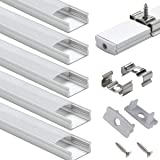 LED Aluminum Channel with Cover - StarlandLed 6-Pack 1Meter/3.3ft LED Profile and Diffusers with End Caps and Mounting Clips
