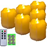 Homemory 400+ Hours 6 Pack Flameless LED Votive Candles with Timer, Battery Operated and Remote Control, Flickering Tea Light