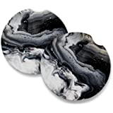 Black Marble | Car Coasters for Drinks Set of 2 | Perfect Car Accessories with Absorbent Coasters. Car Coaster Measures 2.56
