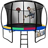 UP-SHOT 10ft Round Kids Trampoline with Curved Pole Design and Basketball Set, Black with Multi-Colour Padding
