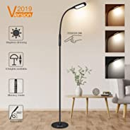 LED Floor Lamp, SOLMORE LED Reading Lamp 3 Colors Temperatures Dimmable Reading Standing Lamp Height Adjustable Flexible Goos