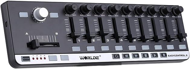 ammoon Worlde MIDI キーボード ミニ USB 9 スリム ライン コントロール MIDIコントローラー EasyControl.9 Portable