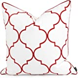 Hofdeco Valentine Indoor Outdoor Cushion Cover ONLY, Water Resistant for Patio Lounge Sofa, Red White Moroccan Quatrefoil, 50