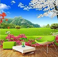 Xxzzdn カスタム壁画壁紙壁3D自然風景緑の草原の花の背景壁画現代壁紙リビングルーム-400X280Cm